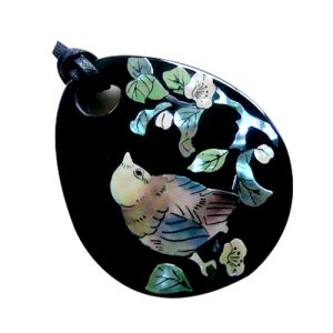 茶花にヒクイドリ ペンダントミラー