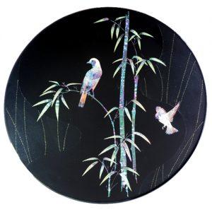 飾り皿 竹に花鳥