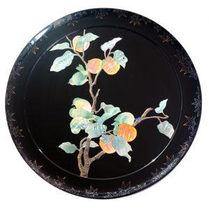 飾り皿 柿に目白
