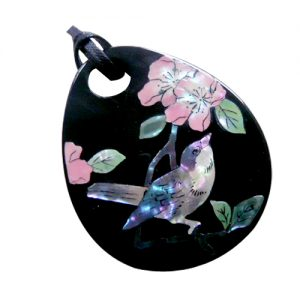 山茶花にシジュウカラ ペンダントミラー