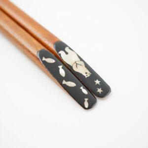 螺鈿箸 animal シロクマ